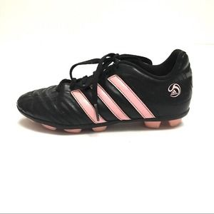 Girl's Adidas Black/Pink Striped Soccer Cleats 3.5